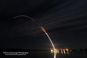 Night Time Rocket Launch Seen From Oak Hill Florida